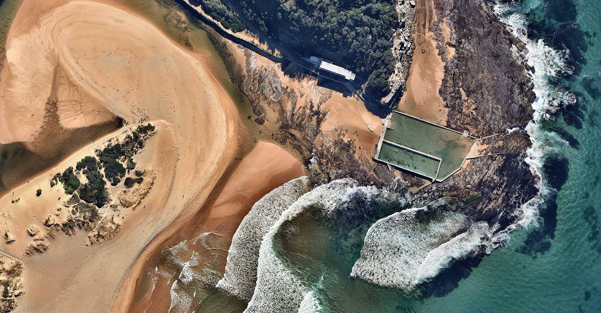 Legal Copyright aerial beach ocean Pool at Collaroy, New South Wales