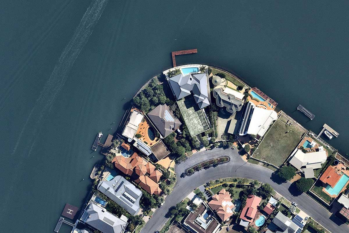 Aerial vertical image of Waterfront homes at Surfers Paradise, QLD