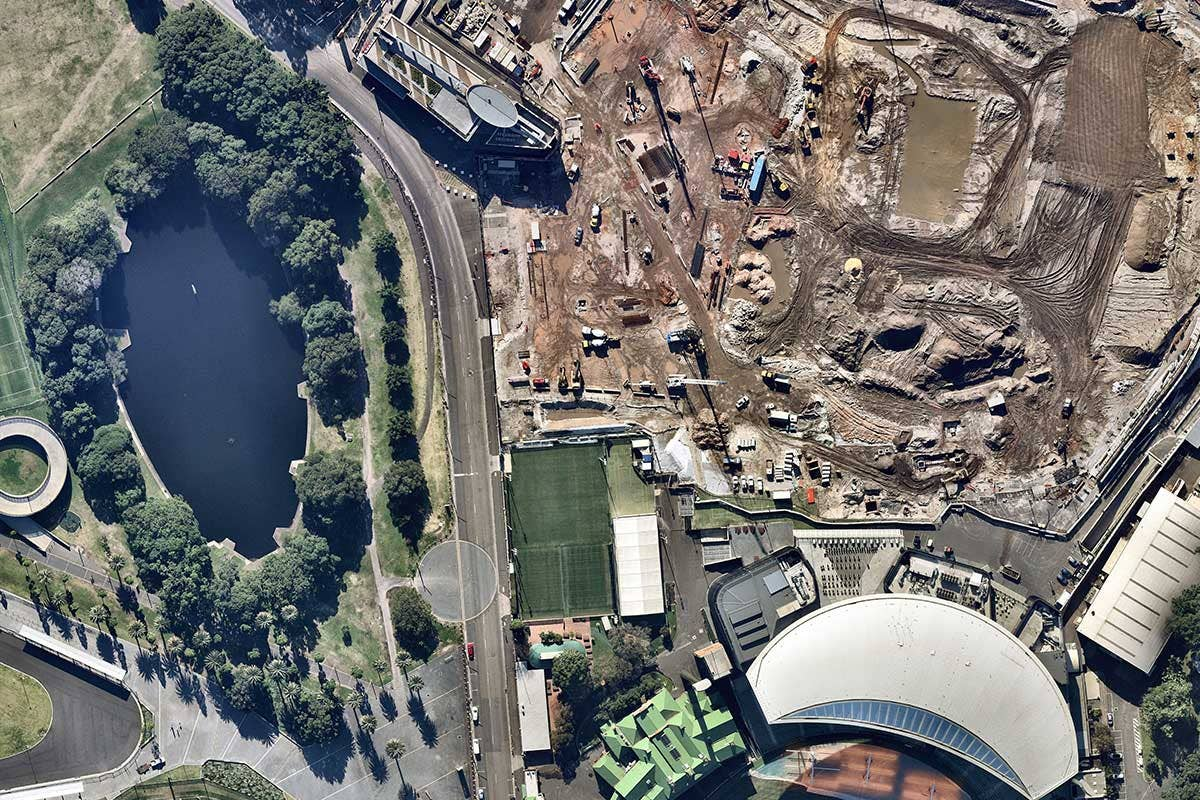 Vertical aerial image of construction at Sydney Football Stadium , Moore Park, NSW
