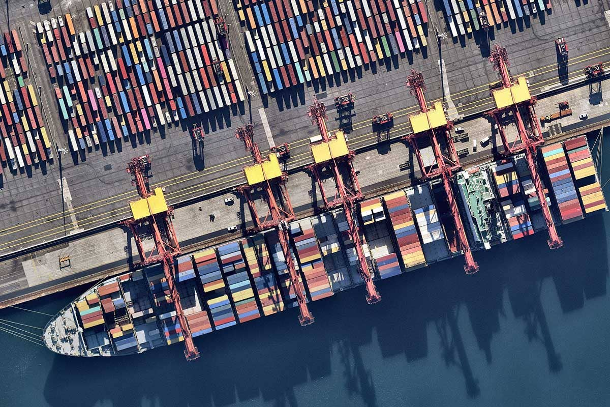 Aerial vertical image of Cargo ship at Banksmeadow, NSW