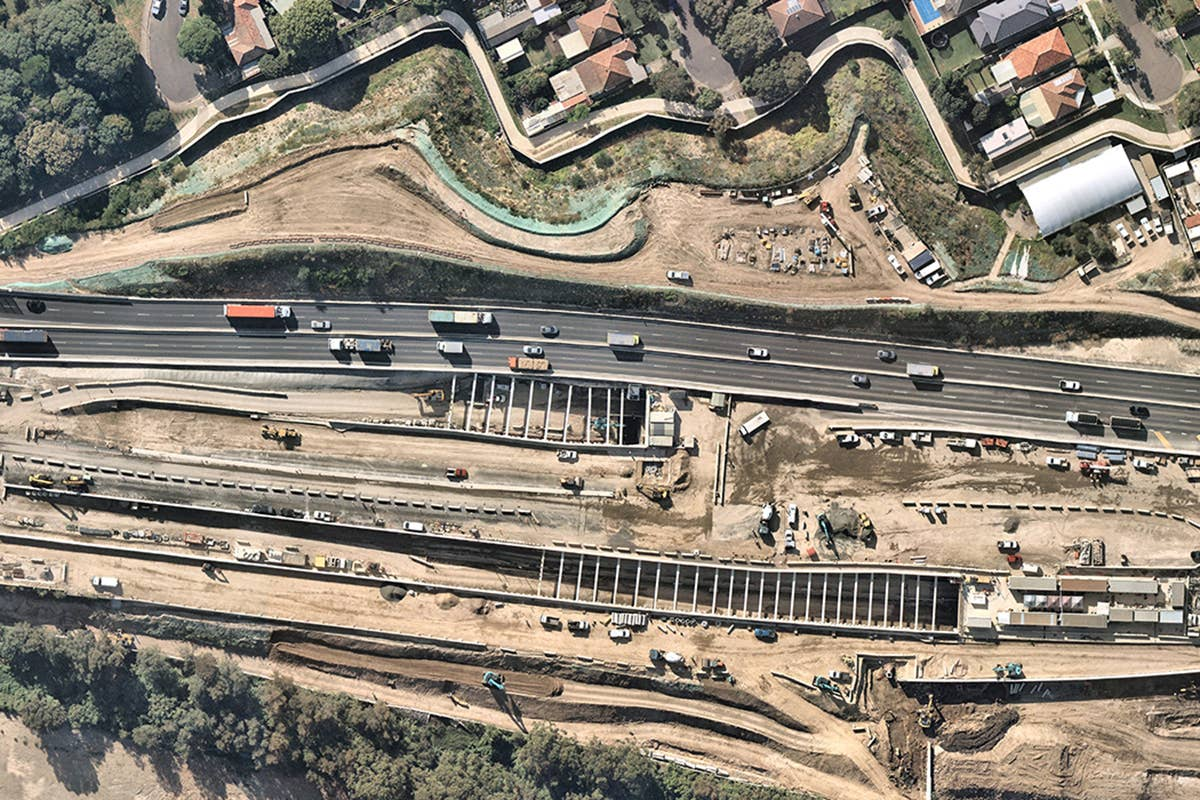 aerial, government, transport, construction, Kingsgrove, 2019 April 25