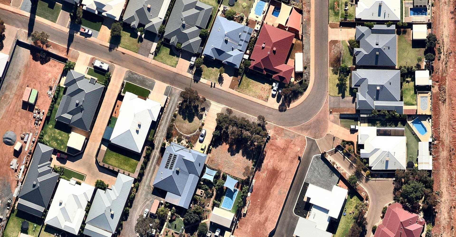 Industries aerial image of housing and construction in Broadwood, Western Australia