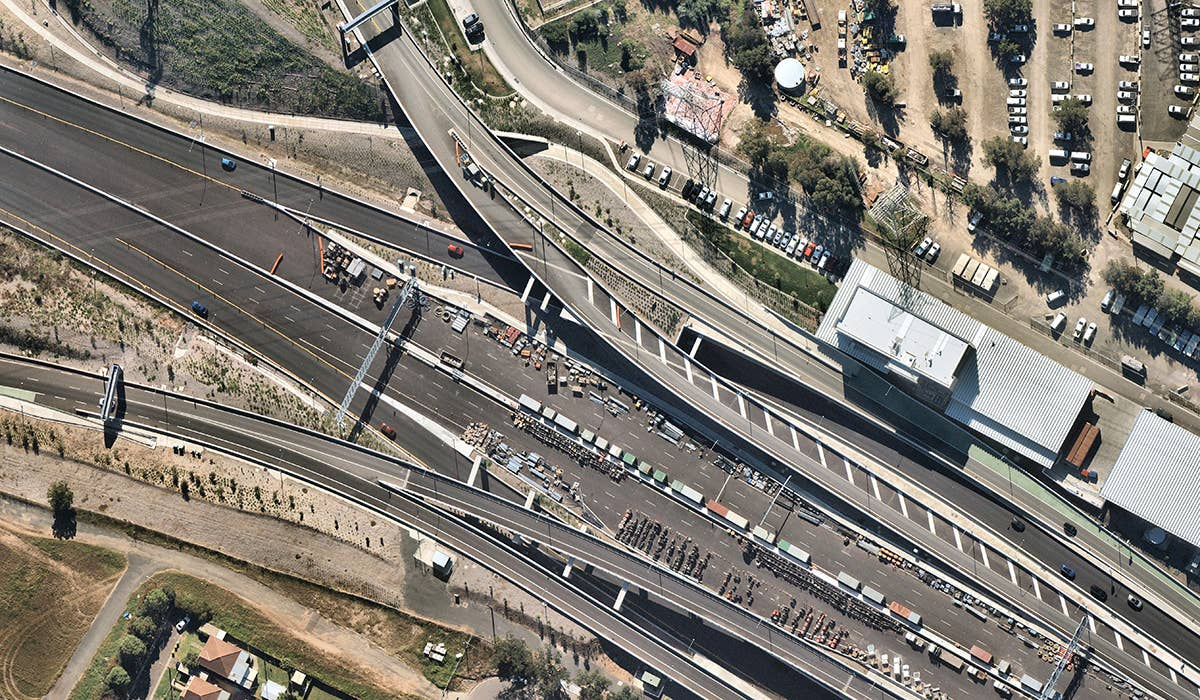 aerial, transport, roads, Homebush West, NSW, 2019 May 12