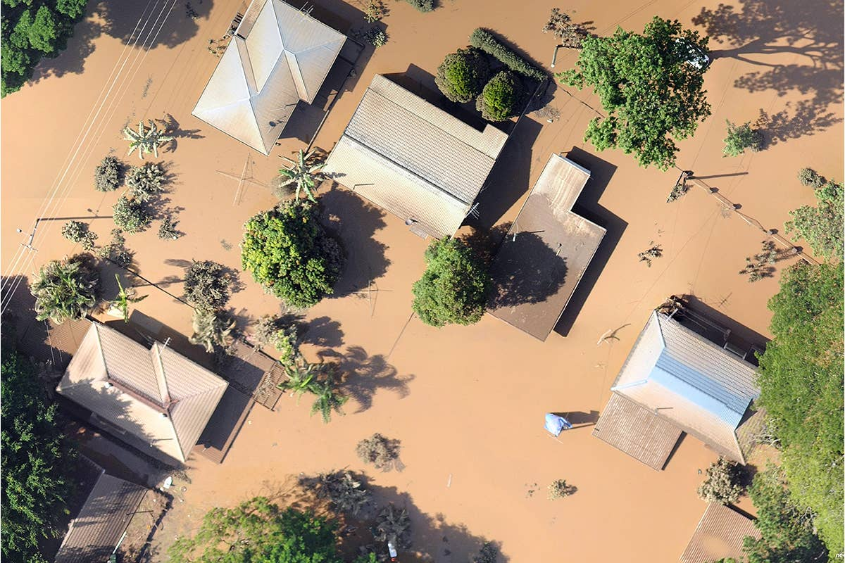 aerial, industries,insurance,flooding, Goodna, QLD, 2011 January 13