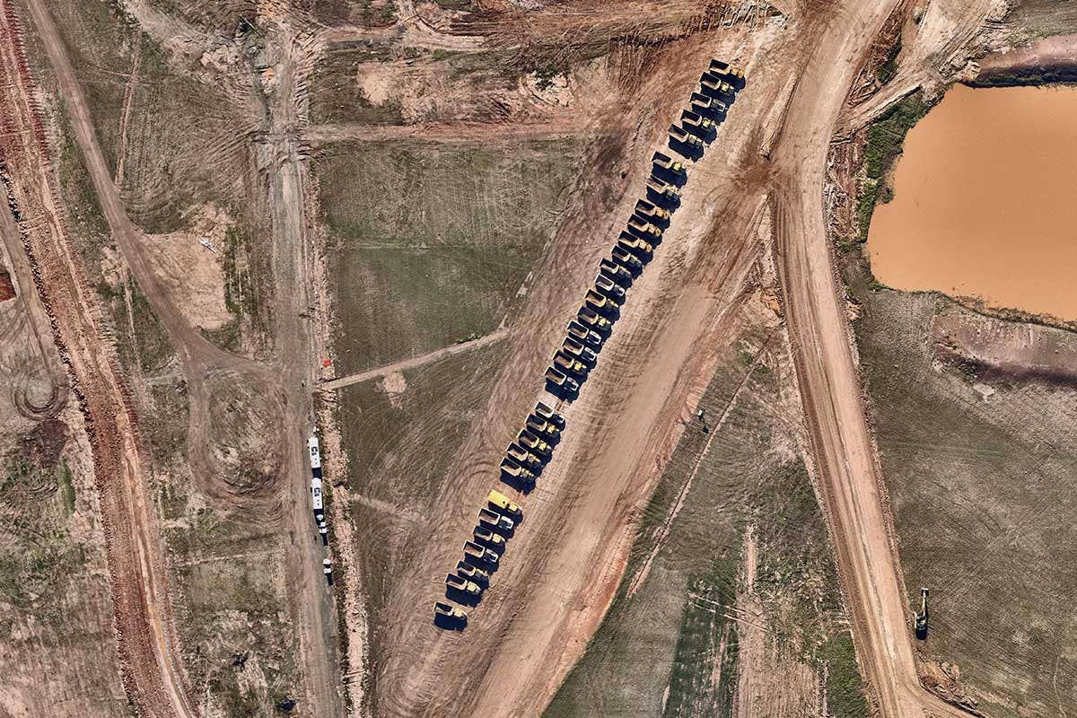 Utilities airport industry aerial imagery of construction at Badgerys Creek, New South Wales