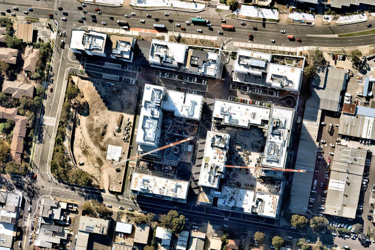aerial, vertical, utilities, construction, kirrawee, NSW, April 25 2019