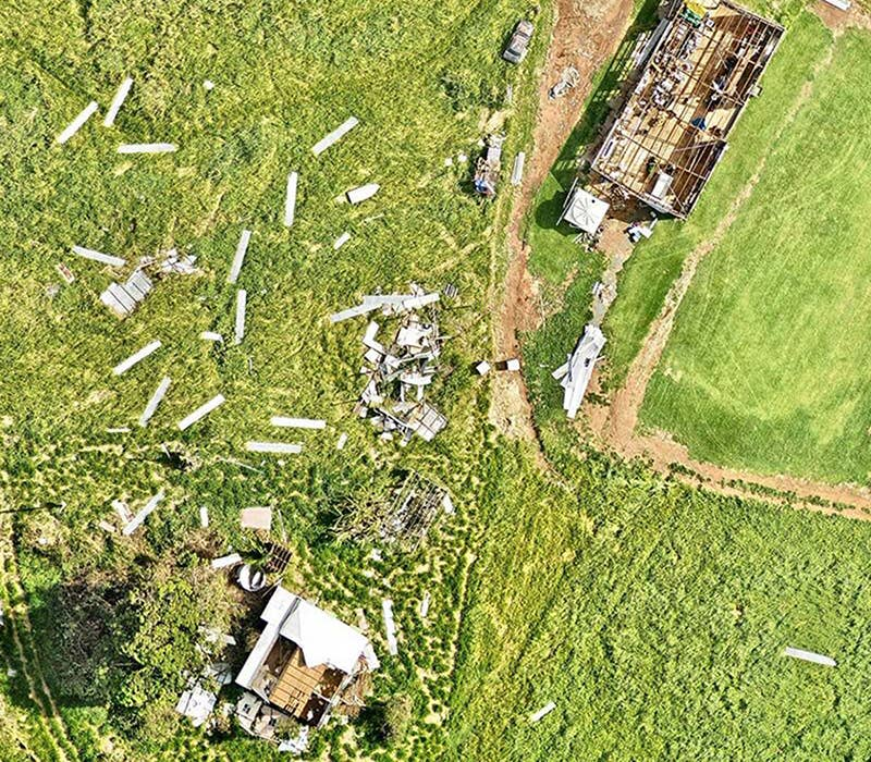aerial, property, damage, detail, Yeppoon, QLD, 2018 February 23