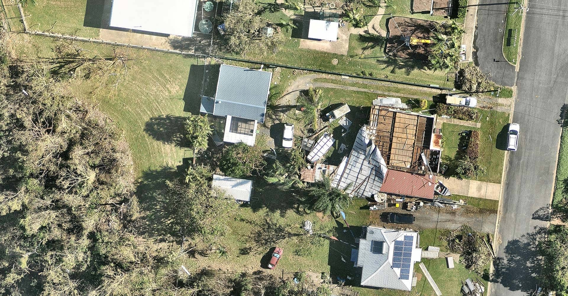 aerial, property, damage, Yeppoon QLD, 2018 February 23