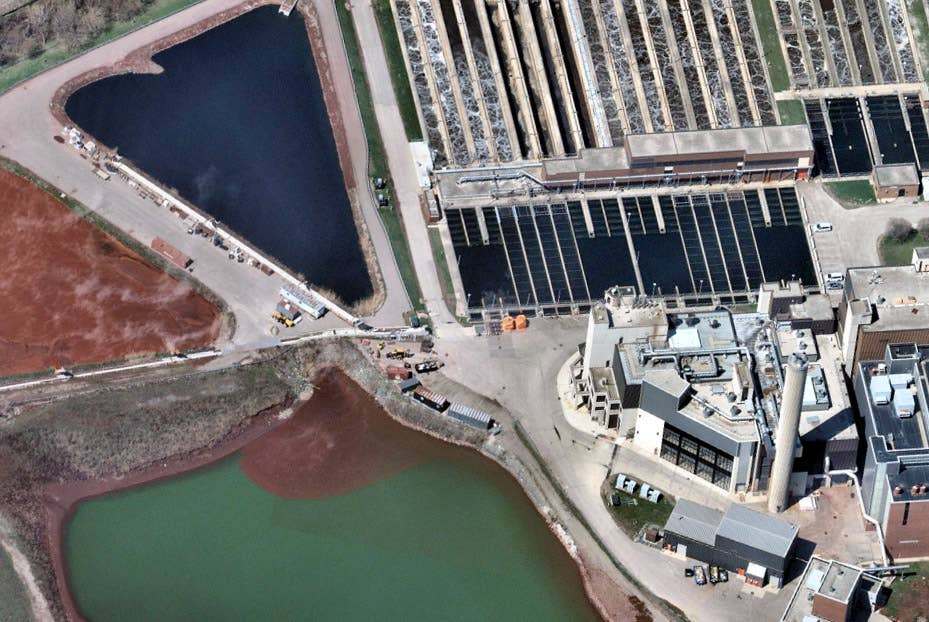 Aerial view of wastewater treatment plant in Ontario, Canada