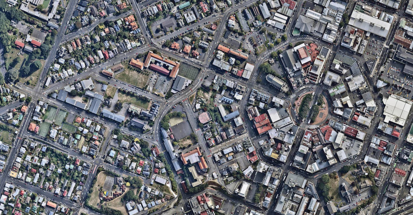 aerial image of city centre, the octagon in dunedin-- 9 March 2019