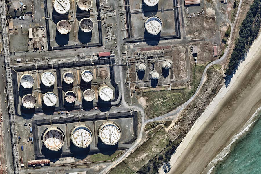aerial image of marsden point oil refinery in whangarei-- 1 May 2019