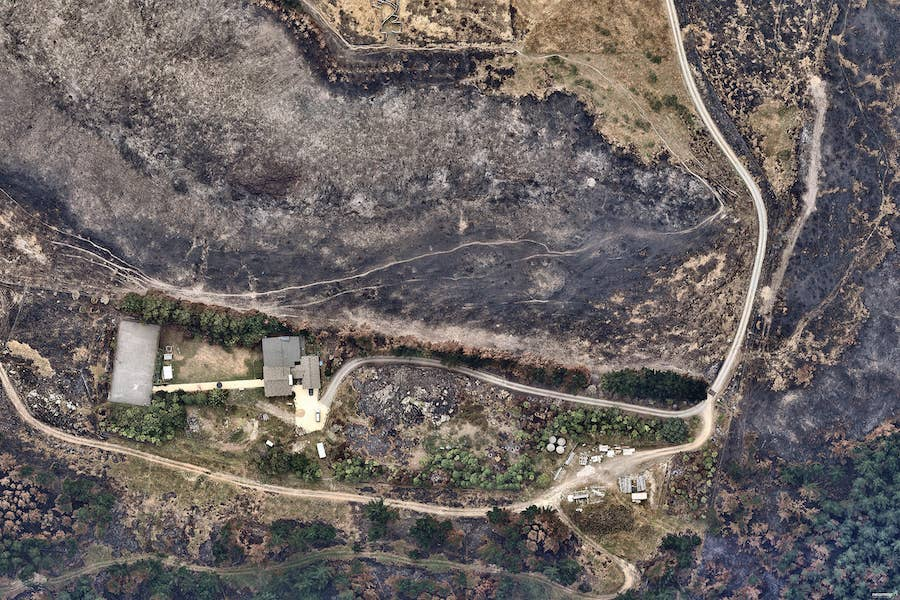 aerial image of bushfire damage in sewlyn district -- 3 March 2017