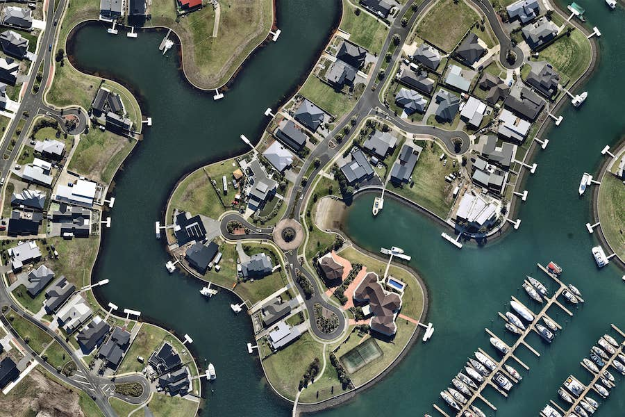 aerial image of canal neighbourhood in whangarei-- 1 May 2019