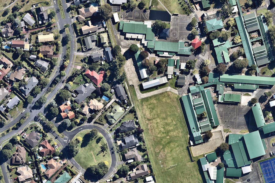 aerial image of orewa college in auckland-- 2 March 2019