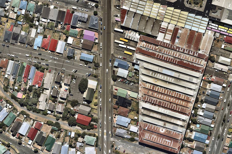 aerial image of detailed roofing wellington-- 8 February 2019