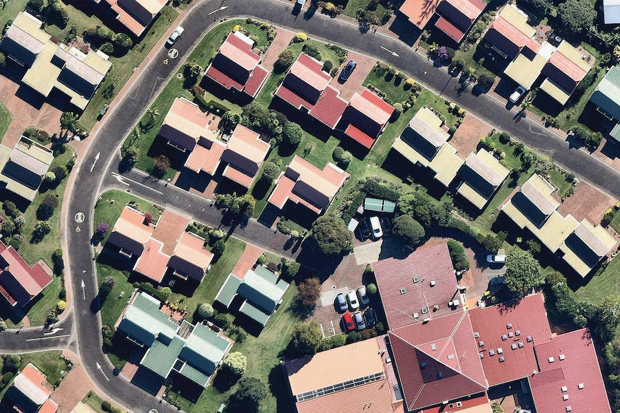 aerial image of coloured housing rooves in auckland-- 4 February 2019