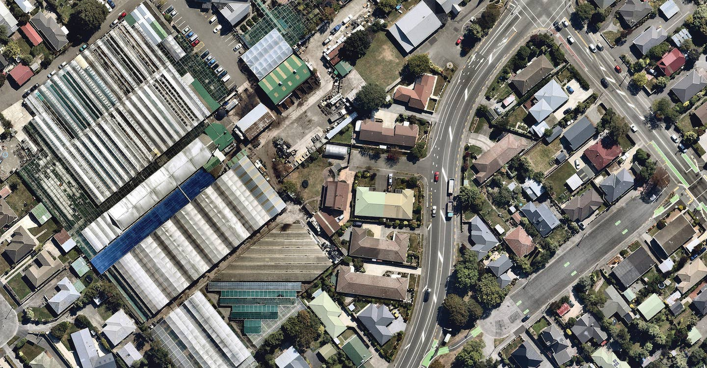 aerial image of detailed roof in christchurch-- 6 March 2019