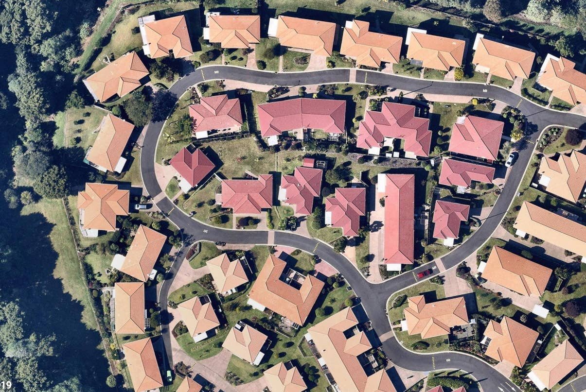Overhead image of Spanish roofs in Whangarei, NZ