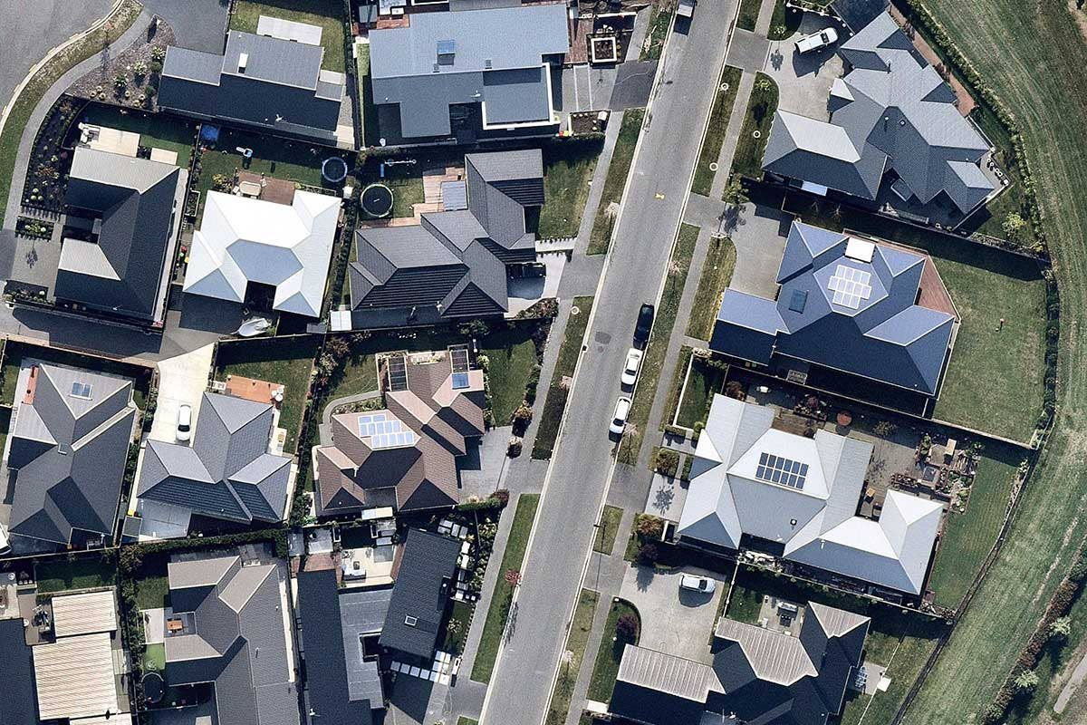 Solar aerial survey of housing in Christchurch, Canterbury