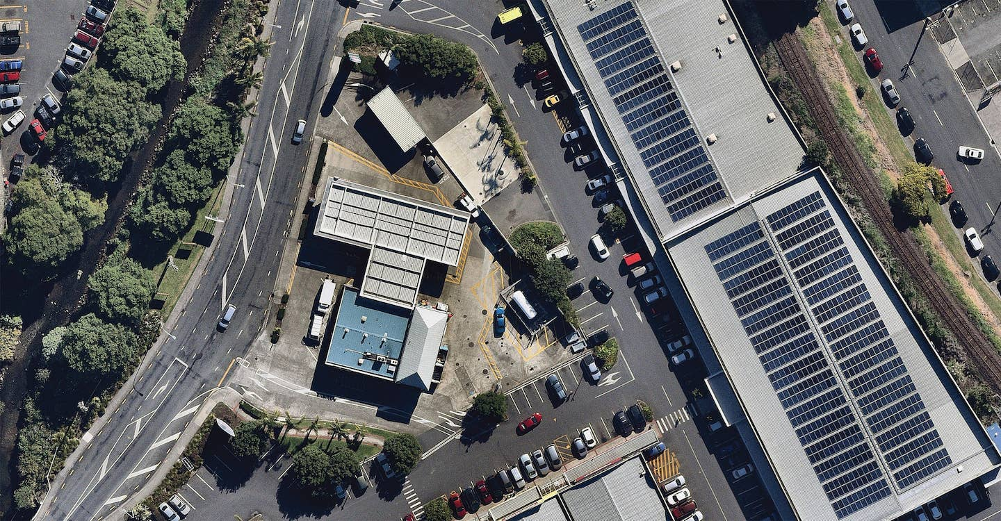 aerial image of commercial solar use in whangarei-- 1 May 2019
