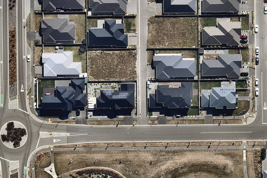 aerial image of residential solar panels in christchurch-- 6 March 2019