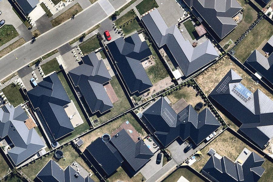 aerial image of suburban solar roofing in christchurch-- 6 March 2019