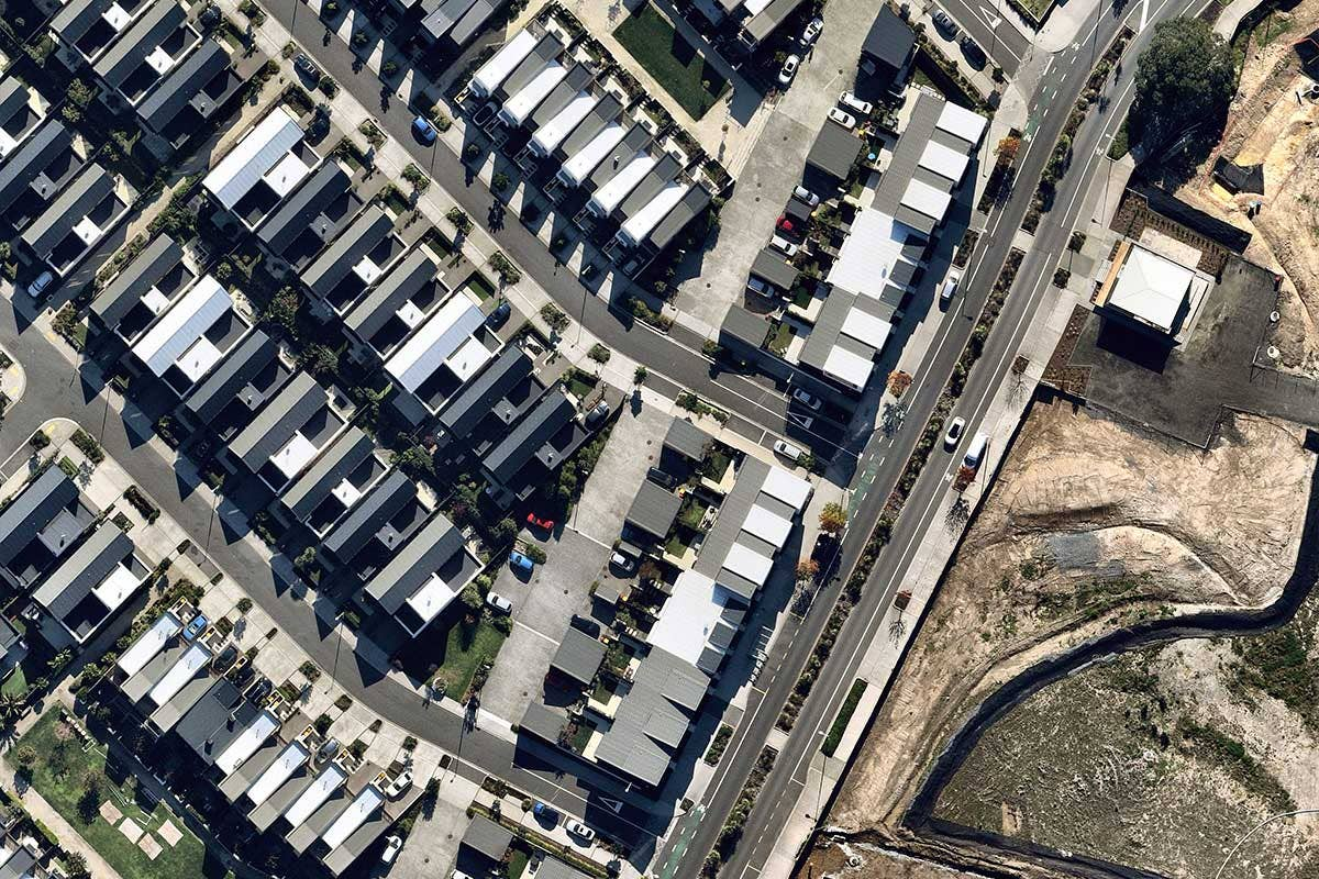 Telco aerial survey of housing development in Hobsonville Point, Auckland