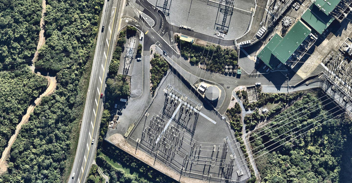 aerial image of haywards electrical substation in wellington-- 8 February 2019
