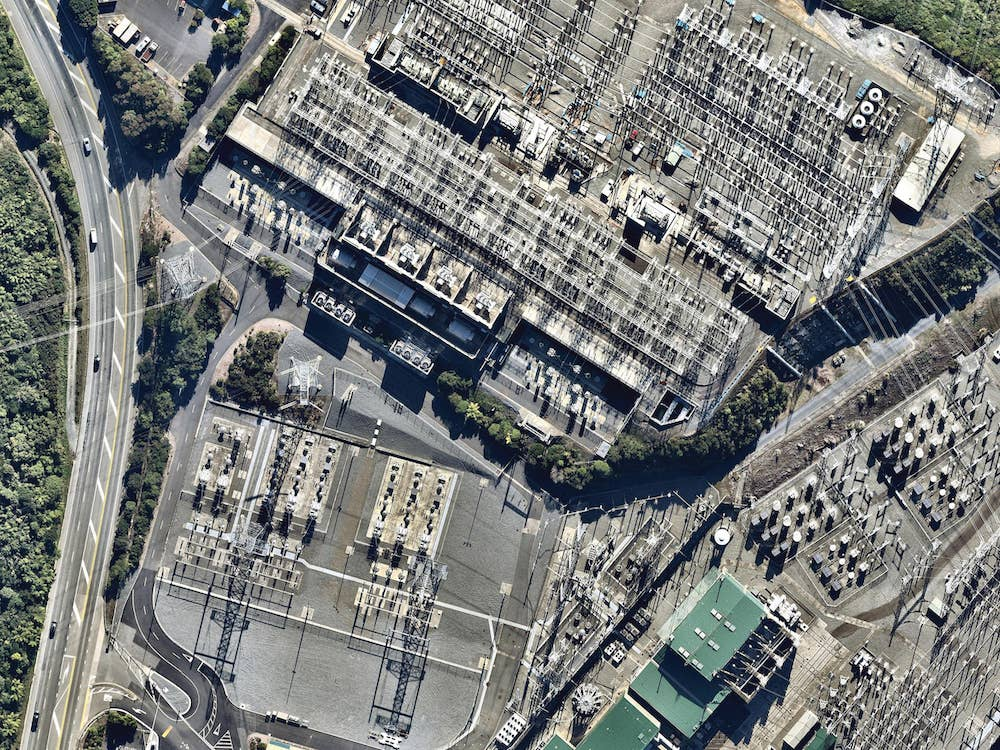 aerial image of electrical substation in wellington-- 8 February 2019