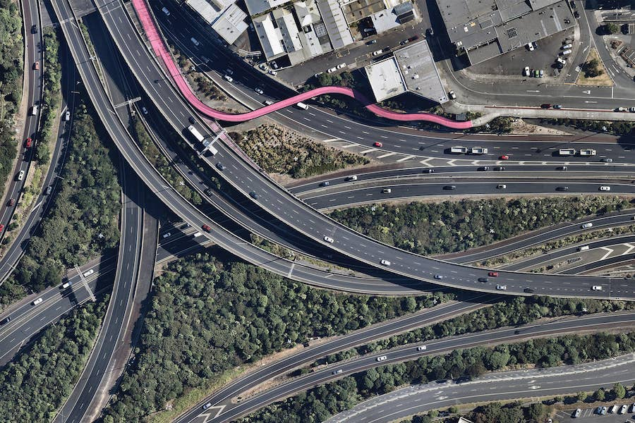 aerial image of central motorway junction in auckland-- 2 February 2019