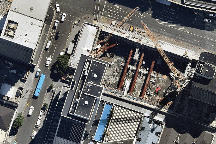 aerial image of building construction in auckland-- 4 February 2019