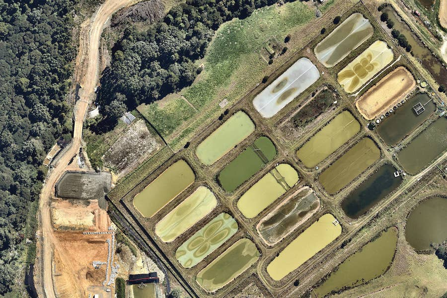 aerial image of water treatment in auckland-- 2 March 2019