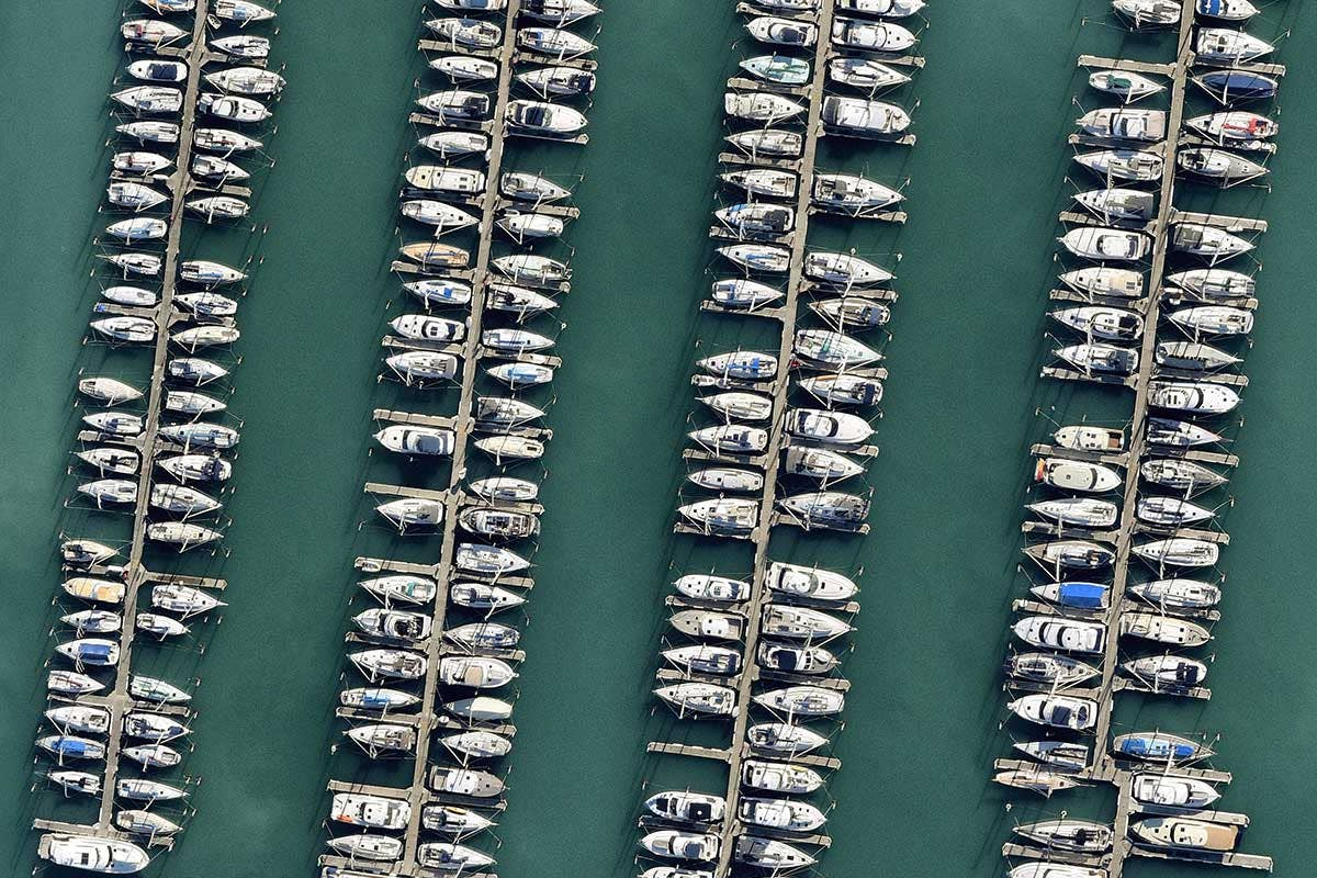 Aerial high resolution water boats, Auckland central
