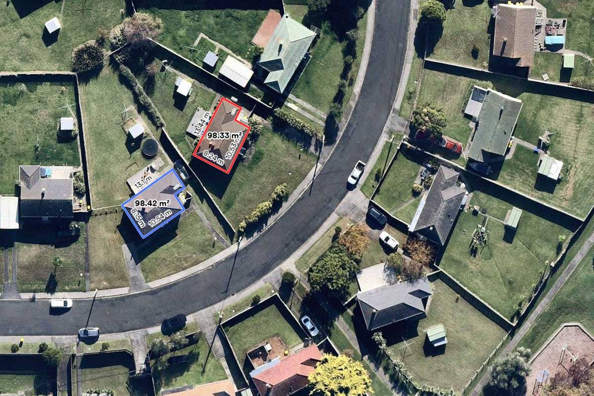 Aerial products measurement vertical of housing in Bayswater, Auckland