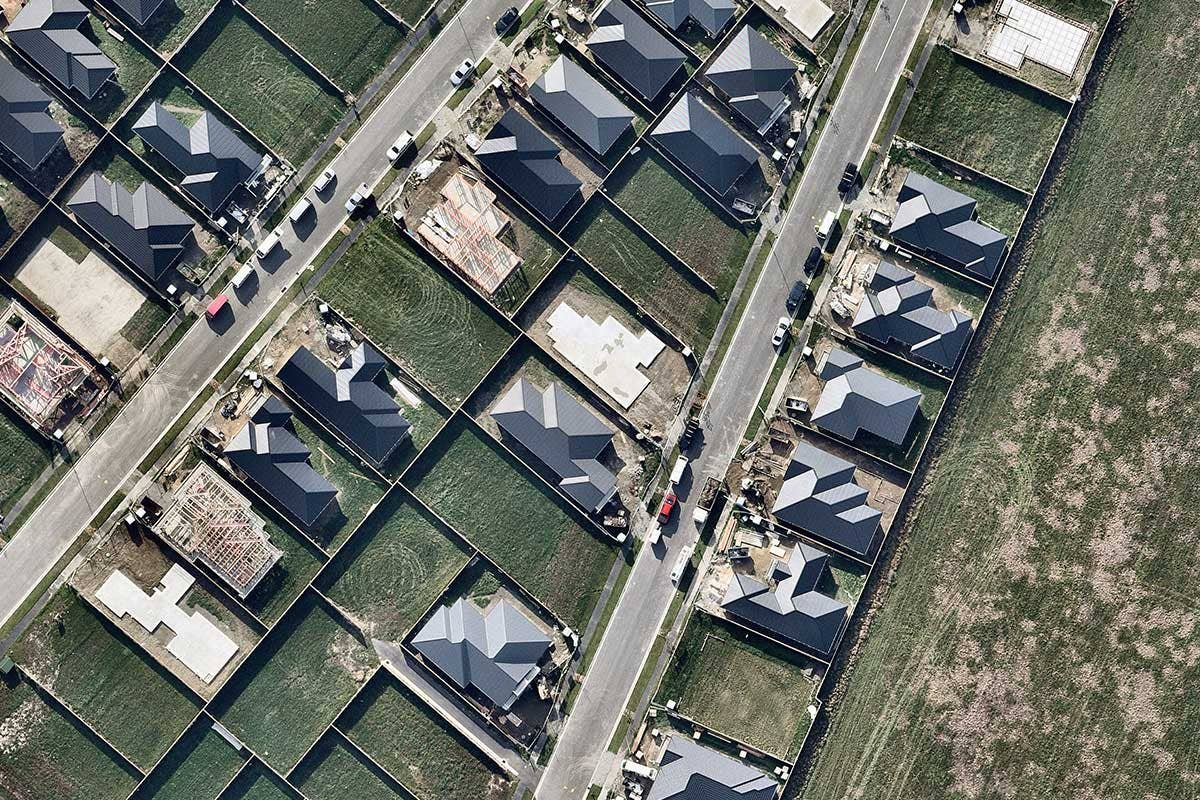 Aerial image housing construction in Christchurch