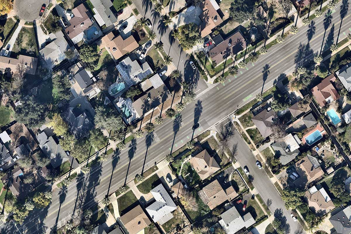 aerial image of properties in Redlands, California