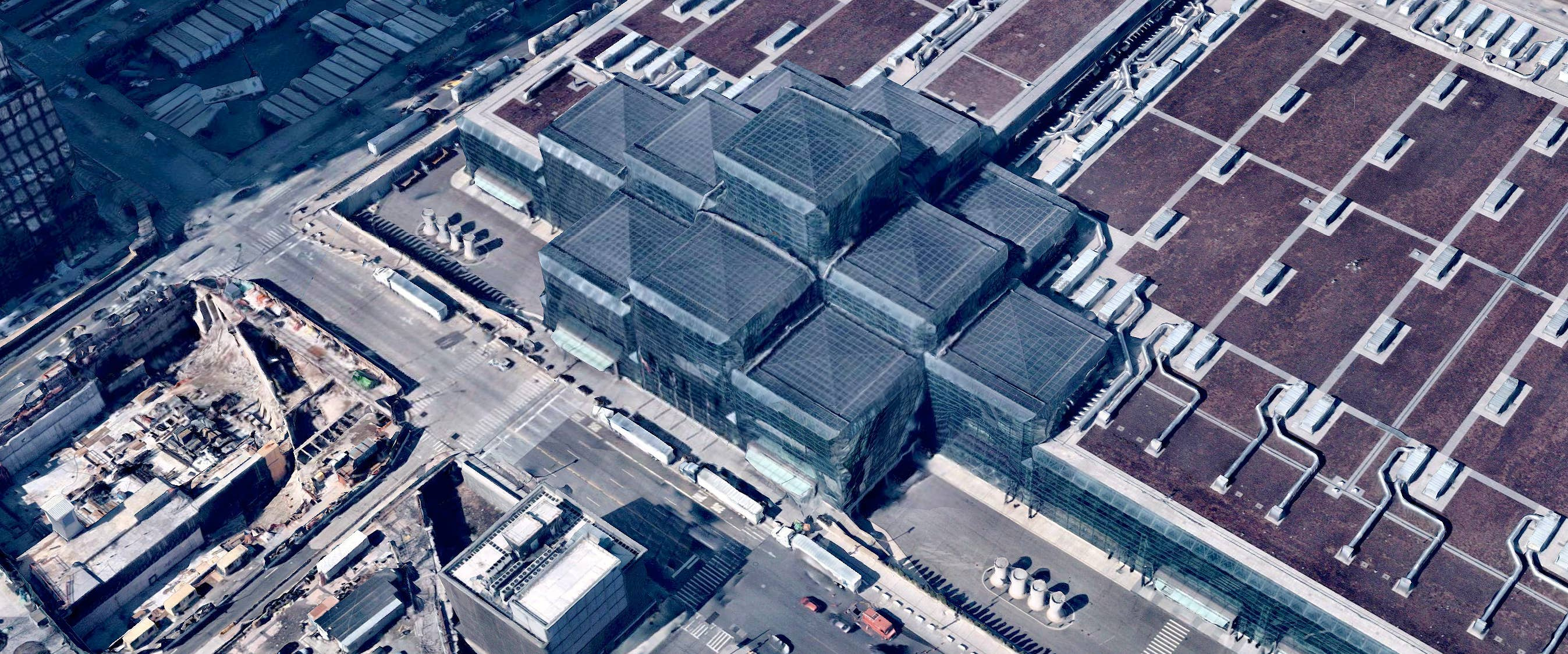 3D aerial visualization of Javits Convention Center in New York City, NY - 24 March 2019