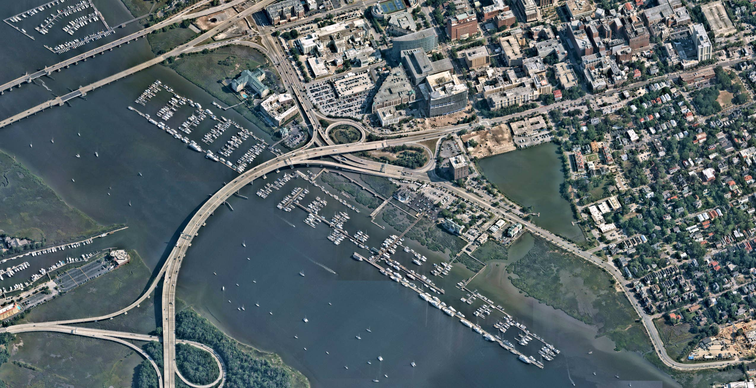 Aerial view, marina development, Charleston SC -- 18 May 2019