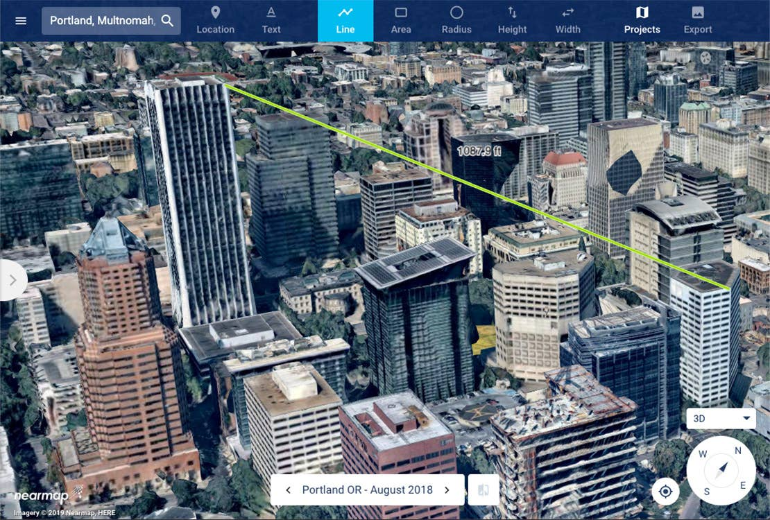 3D aerial view, 5G building distance measurement, Portland OR -- 2018-08-31