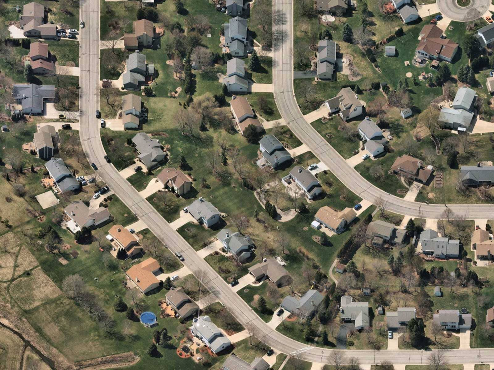 Oblique aerial image of suburban housing in Mequon, Wisconsin