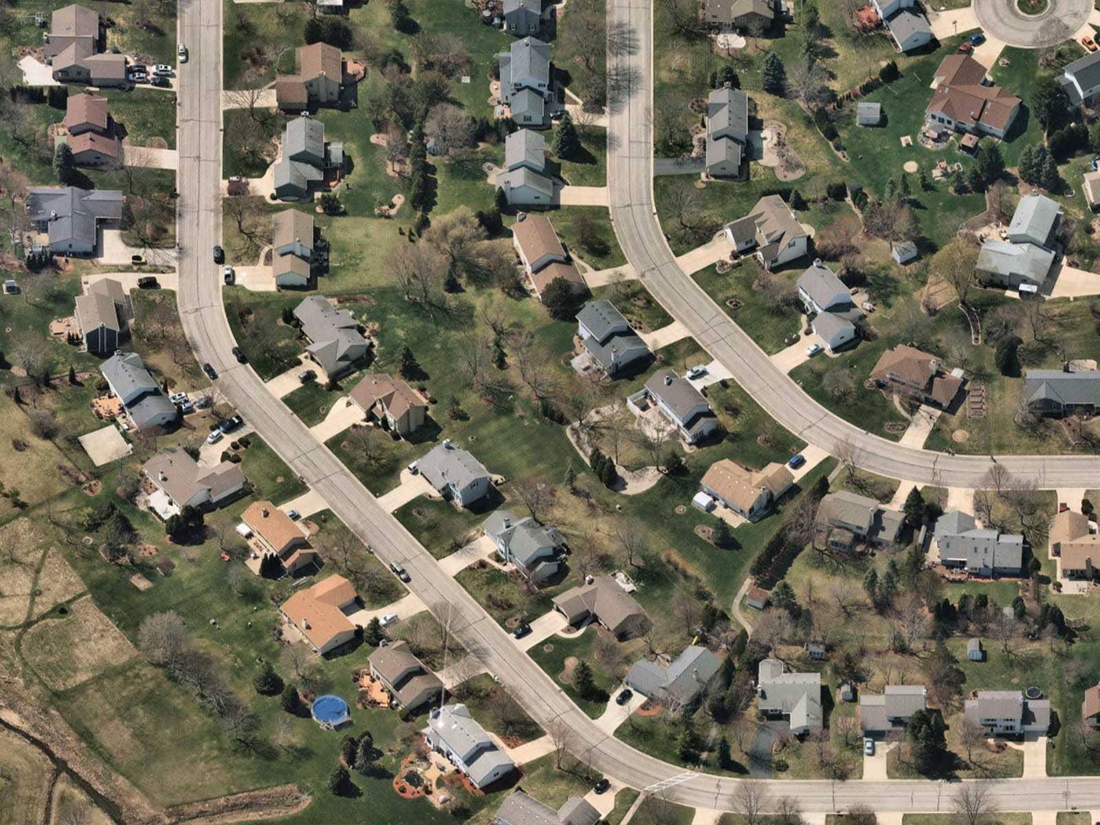 Oblique aerial image of suburban housing in Mequon, Wisconsin