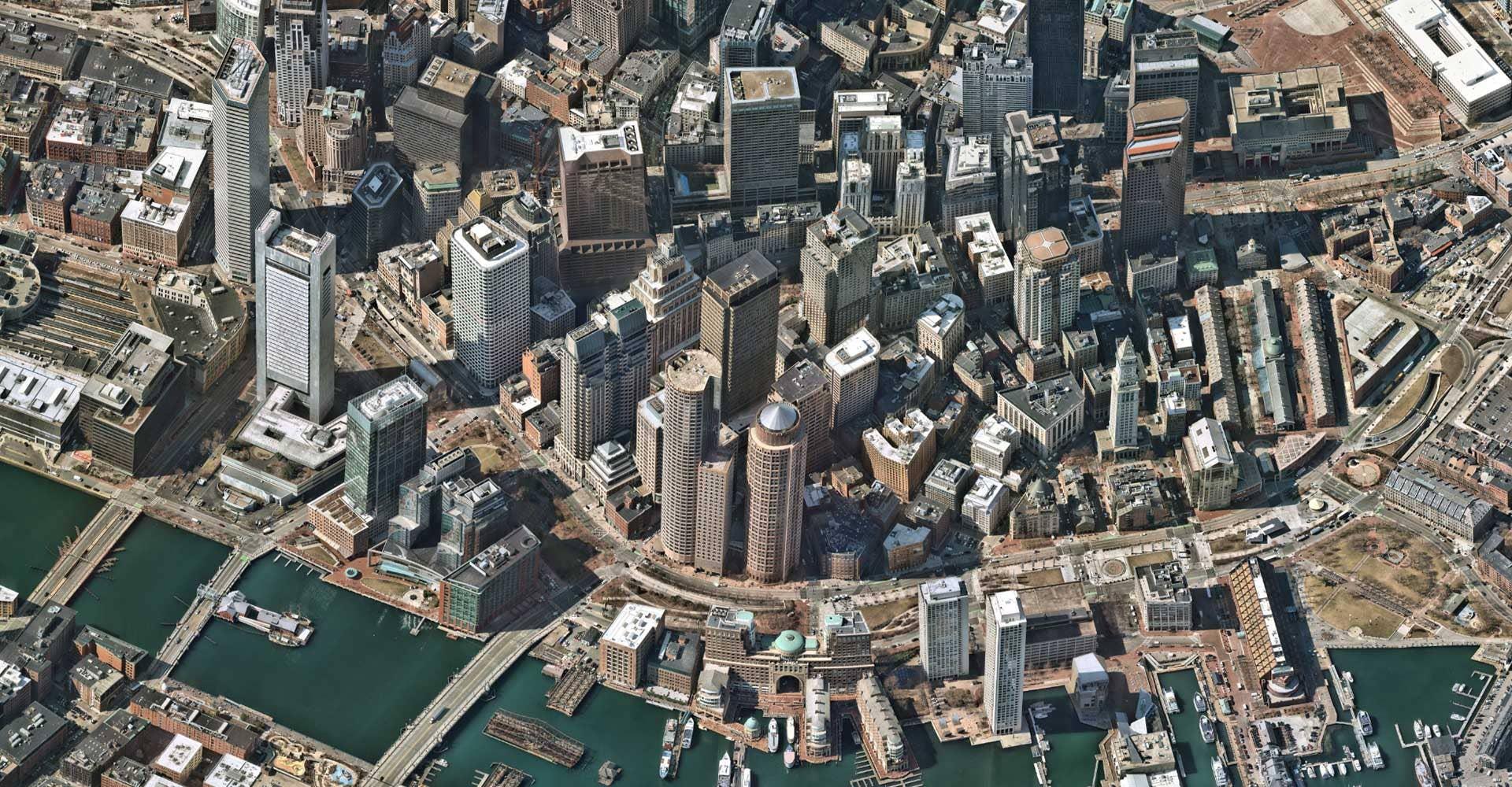 Boston, Massachusetts downtown high resolution aerial image