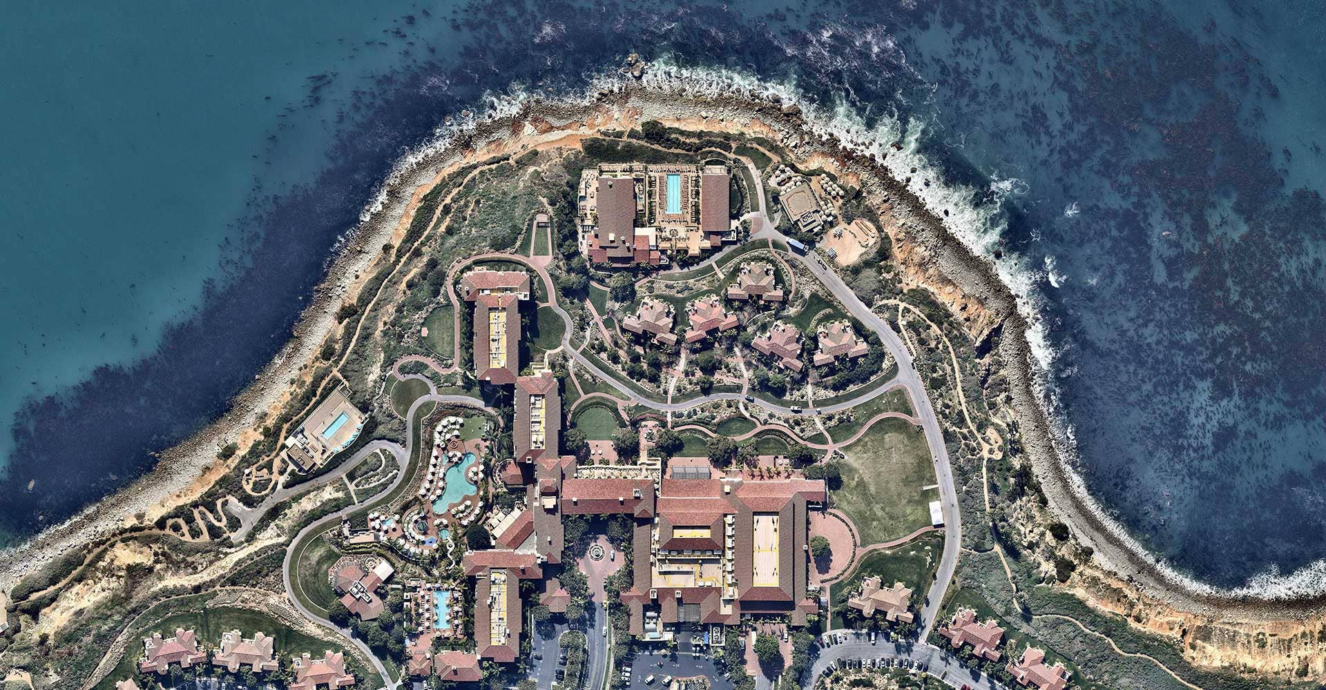 High resolution aerial image of resort in Rancho Palos Verdes, California