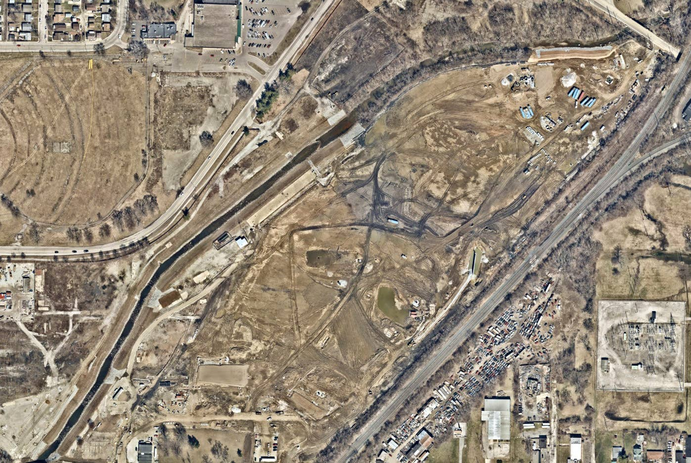 Overhead aerial view, land planning, Indianapolis, IN -- 23 March 2019