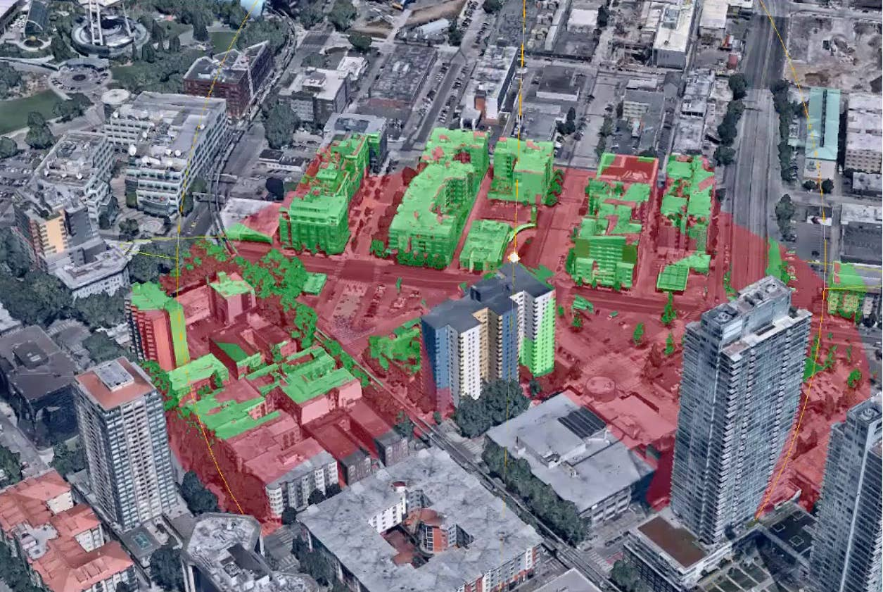 3D viewshed analysis from rooftop, Seattle, WA - July 2018