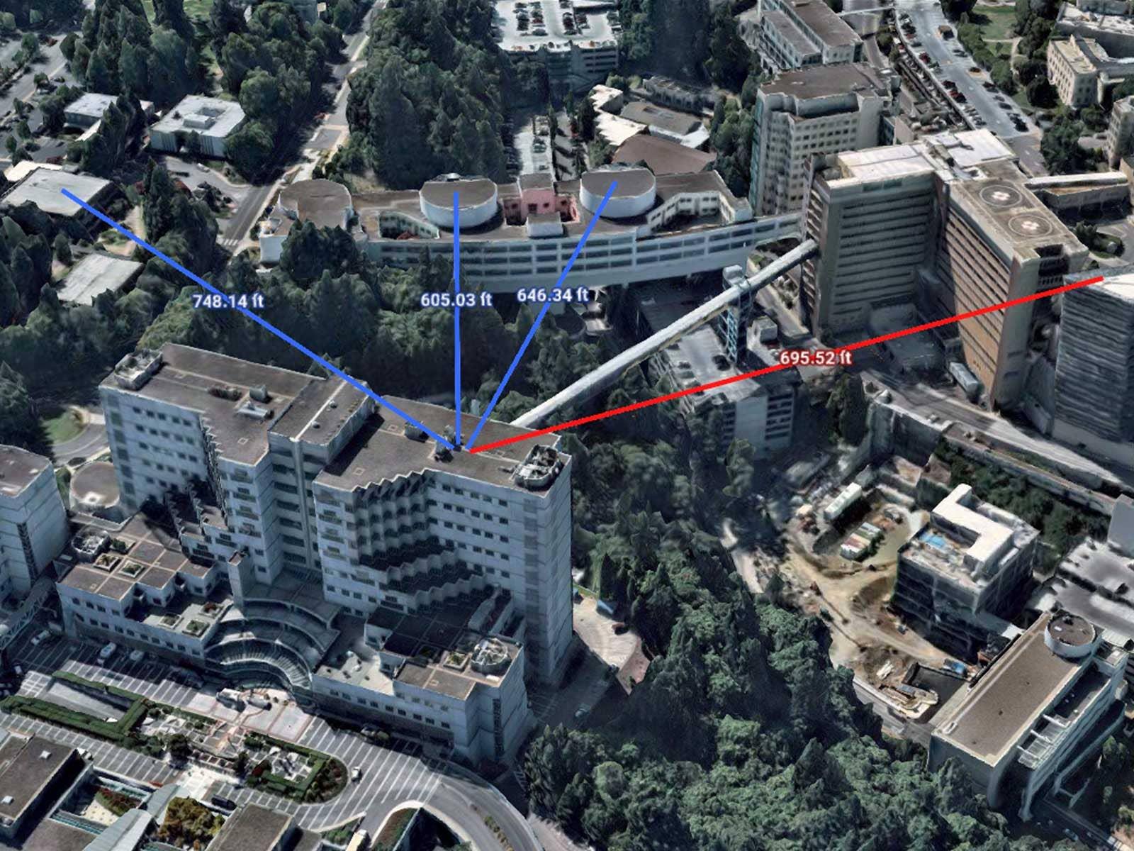 Line of sight measurements on 3D image of OHSU Hospital in Portland, Oregon