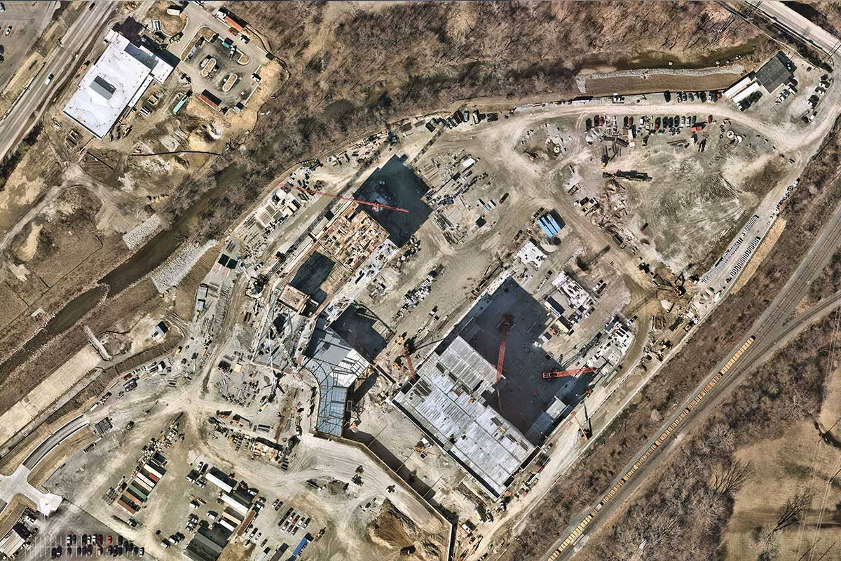 high resolution aerial image of construction site in Indianapolis, Indiana