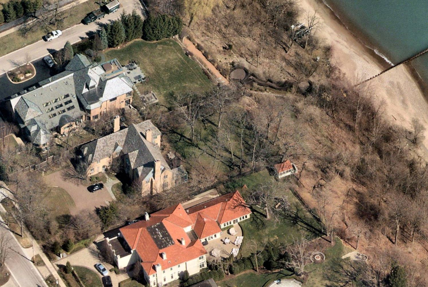 North oblique aerial view, Lake Michigan property, Highland Park, IL -- 9 April 2019