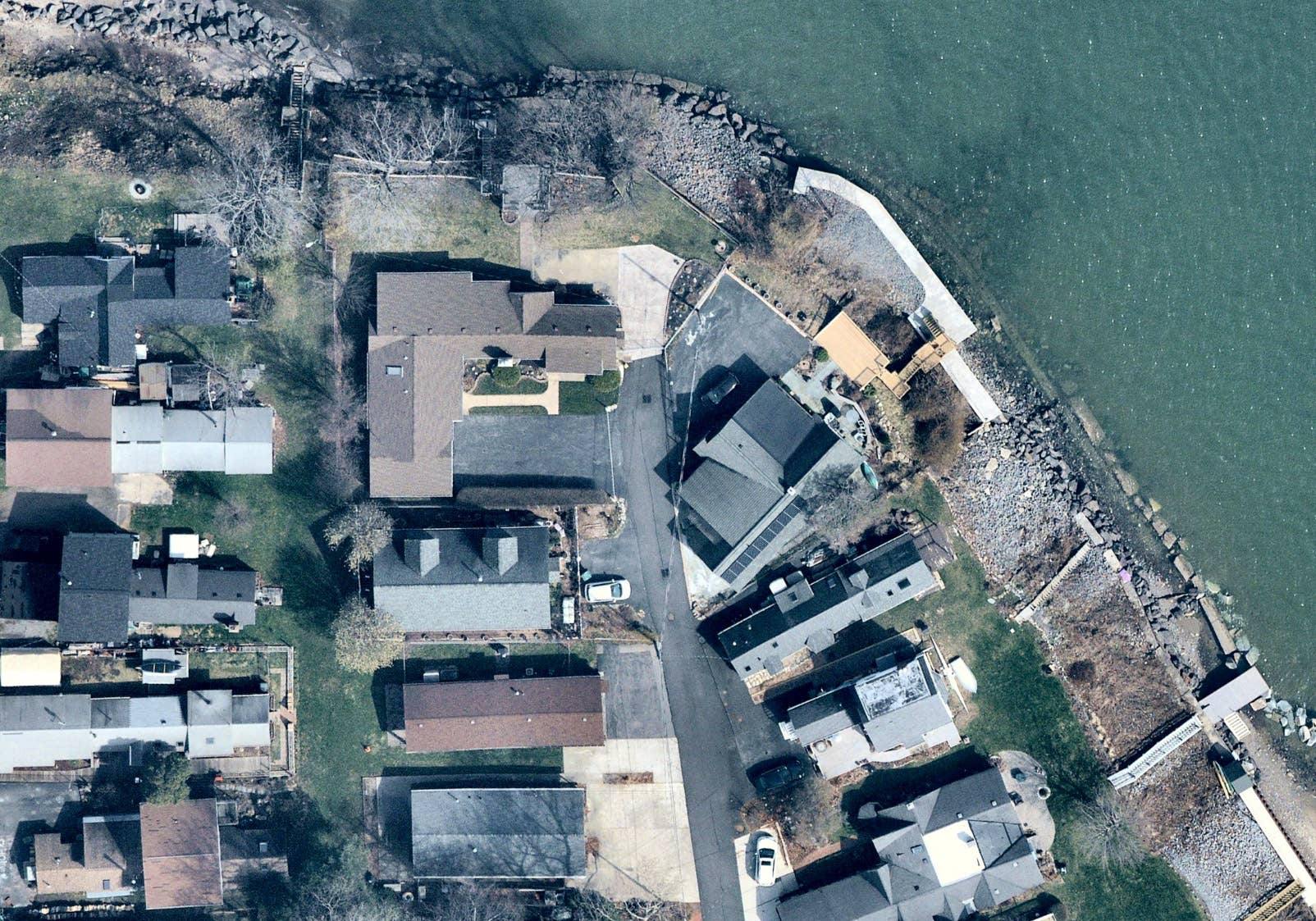 Overhead property view on the shore of Lake Ontario, Rochester NY -- 17 April 2019