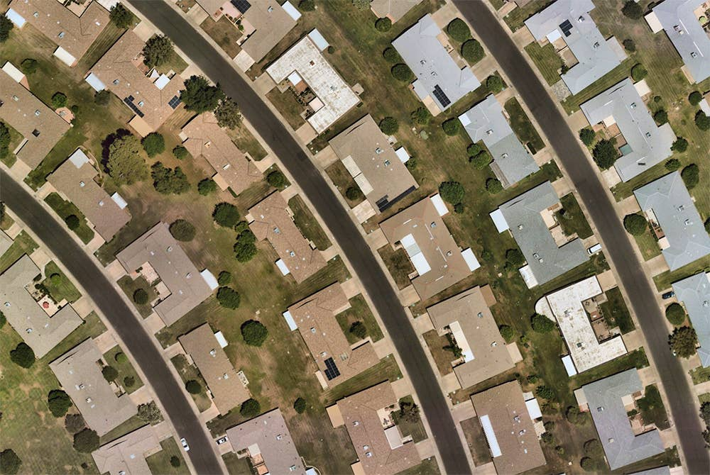 High-res orthographic image of residential rooftops in Sun City, AZ - 30 May 2019